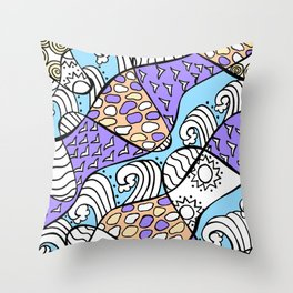Doodle Art Drawing - Seagulls Rocks and Waves - Blue Purple Throw Pillow