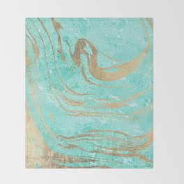 Modern faux gold turquoise white elegant marble Throw Blanket