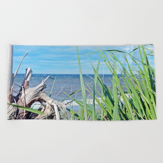 Through Grass and Driftwood Beach Towel