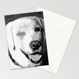 labrador retriever dog winking vector art black white Stationery Cards