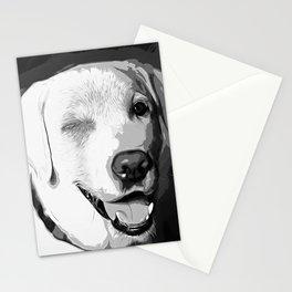 labrador retriever dog winking vector art black white Stationery Cards