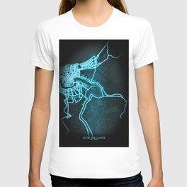 New Orleans, LA, USA, Blue, White, Neon, Glow, City, Map T-shirt