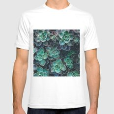 Succulent Blue Green Plants MEDIUM White Mens Fitted Tee