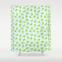 Kawaii Happy Frogs on Blue Shower Curtain