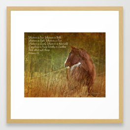 Focus on what is lovely Framed Art Print