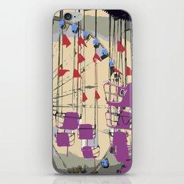 Vintage carnival ferris wheel swings iPhone Skin