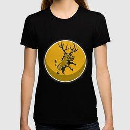 Razorback Antlers Prancing Circle Retro T-shirt