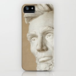 Abraham Lincoln face and head at the Lincoln Memorial in Washington DC iPhone Case
