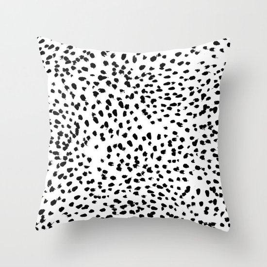 nadia black and white animal print dalmatian spot spots dots bw throw pillow by society6