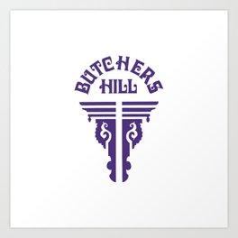 Butchers Hill Vertical Logo, Purple Art Print