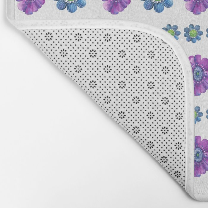 Blue and Purple Pattern Bath Mat