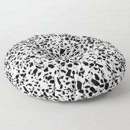 Black and White Dalmatian Pattern Dots Terrazzo Print Floor Pillow