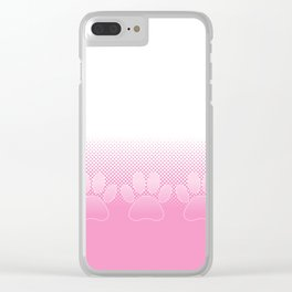 Pink And White Paws With Newsprint Background Clear iPhone Case