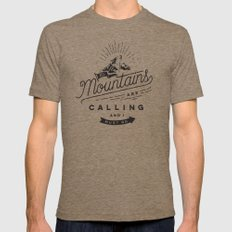 Mountains MEDIUM Tri-Coffee Mens Fitted Tee