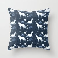 the last unicorn Throw Pillows featuring The Last Unicorn by Sophie Eves