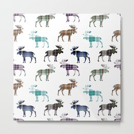 Plaid Moose Metal Print