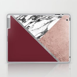 Marble Rose Gold Red Wine Triangle Geometric Laptop & iPad Skin