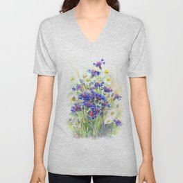 Meadow watercolor flowers with cornflowers Unisex V-Neck