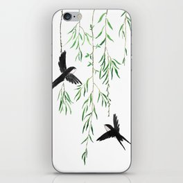 green willow leaf and swallow watercolor iPhone Skin