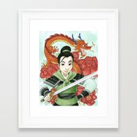 mulan Framed Art Prints featuring Mulan by Aimee Steinberger