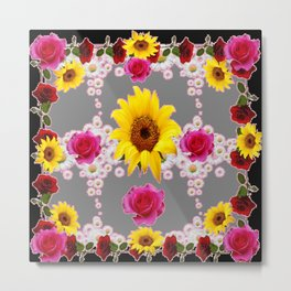 RED ROSES SUNFLOWERS & WHITE DAISIES BLACK VIGNETTE Metal Print