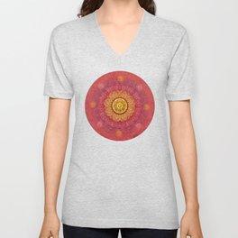 """Strawberry pink shades & Gold Mandala (pattern)"" Unisex V-Neck"
