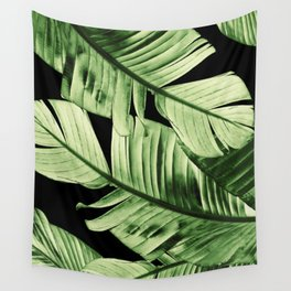 Tropical Banana Night Leaves Dream #1 #tropical #decor #art #society6 Wall Tapestry