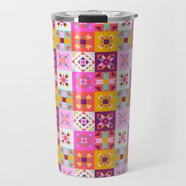 Maroccan tiles pattern with pink no4 Travel Mug