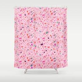 Terrazzo pink and purple Shower Curtain