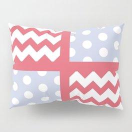 Light Red/Pastel Blue Chevron/Polkadot Pale Color Pop Zigzag Pillow Sham