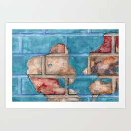 Red Bricks Blue Bricks Art Print