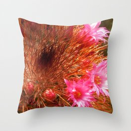 Red Cactus in Bloom Throw Pillow