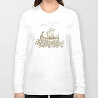 rowing Long Sleeve T-shirts featuring Viking ship by mangulica