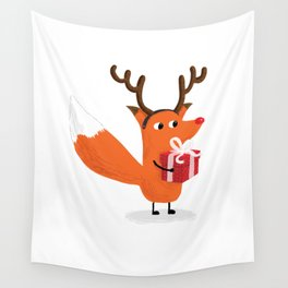 Christmas Deer Fox - The Catbears Wall Tapestry
