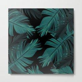 Tropical Banana Night Leaves Pattern #1 #tropical #decor #art #society6 Metal Print