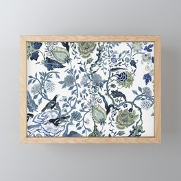 Blue vintage chinoiserie flora Framed Mini Art Print