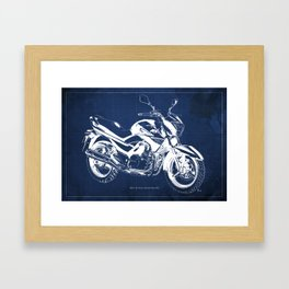 Motorcycle blueprint, 2012 Suzuki Inazuma 250, japanese bike Framed Art Print