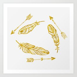 Golden Feathers and Arrows Art Print