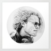 ashton irwin Art Prints featuring Ashton by Drawpassionn