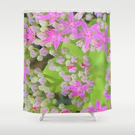 Hot Pink Succulent Sedum with Fleshy Green Leaves Shower Curtain