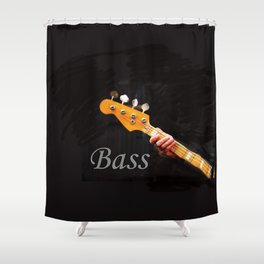 Bass Guitar neck , musical instrument  Shower Curtain