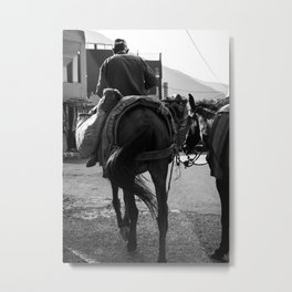 Travels to Morocco - Atlas mountains | street - photography - horse - wall art - print - black&white Metal Print