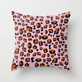 Jungle - Leopard Pattern Light Pink Throw Pillow