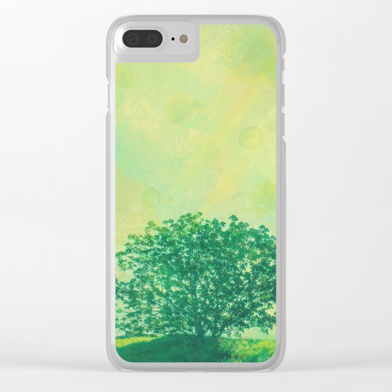 Green Lone Tree, Summer Sunlight Clear iPhone Case