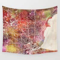 detroit Wall Tapestries featuring Detroit by MapMapMaps.Watercolors
