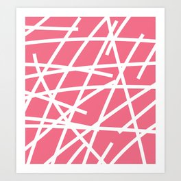 Abstract Criss Cross White Strokes on Pink Background Art Print