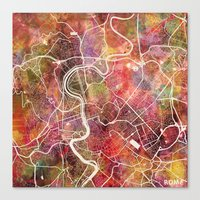 rome Canvas Prints featuring Rome by MapMapMaps.Watercolors