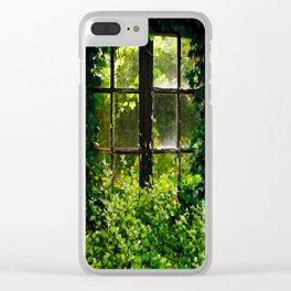 Green idyllic overgrown cottage garden window Clear iPhone Case