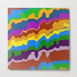 Rolling Hills Bold Colorful Wave Abstract Metal Print