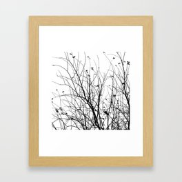 Black white tree branch bird nature pattern Framed Art Print